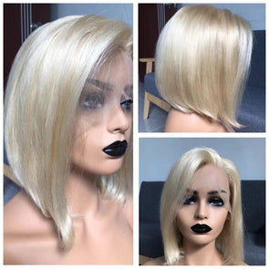 FREE SHIPPING HAIR BLONDE #613 LACE FRONT BOB WIG WITH PRE PLUCKED HAIRLINE STRAIGHT