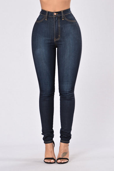 Simple Style Black Tight Jeans