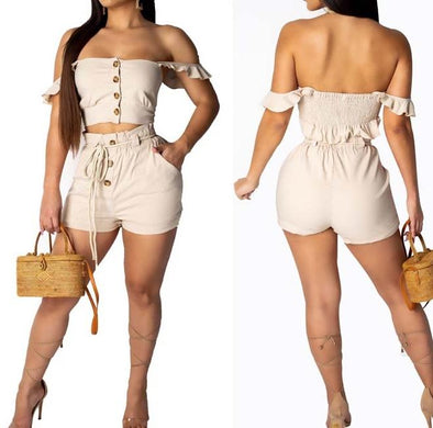 Strapless Ruffles Top and Shorts
