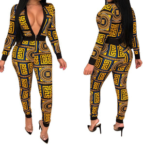 Print Deep-V Sexy Long Sleeve Jumpsuit
