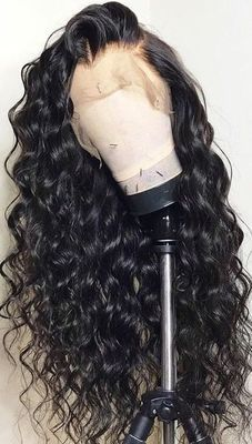 High quality lace front wig black long wave wig natural hairline63