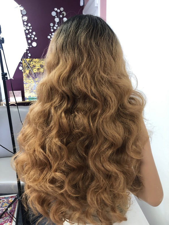 Brown Brunette Ombre Wavy Long Hair Swiss Lace Front Wig 28"