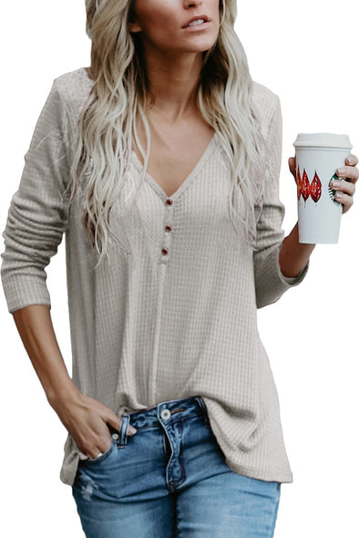 Women?¡¥s V Neck Buttoned Gray Tunic