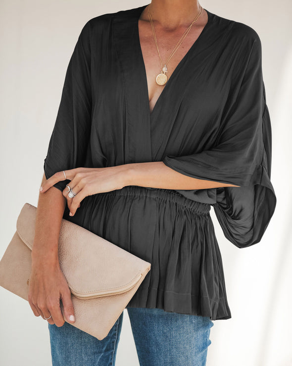 V-Neck Plain Shirt with Wide Sleeves
