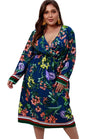 Plus Size V-Neck Flower Long Dress with Full Sleeves