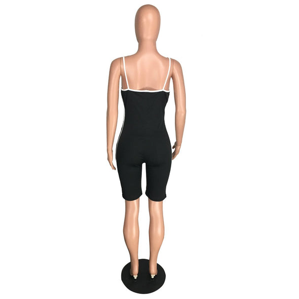 Sports Black Straps Tight Rompers