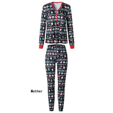 Family Wear Christmas Black Pajama for Mother
