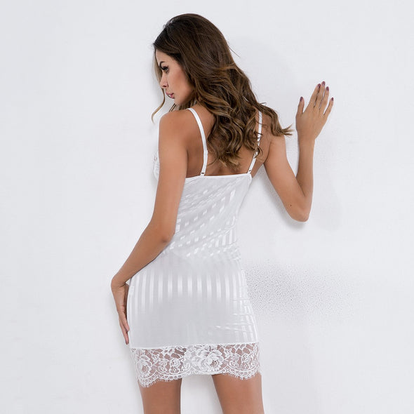 Lace Detailed Strippes Sleeping Dress