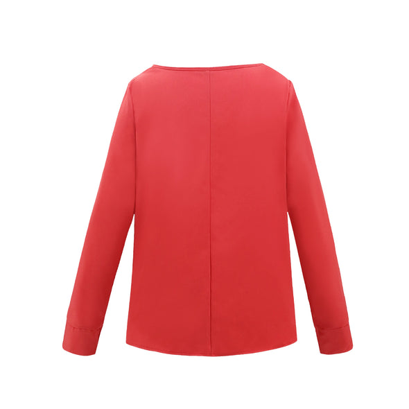 Long Sleeves Round Nech Blouse with Detailed Hem
