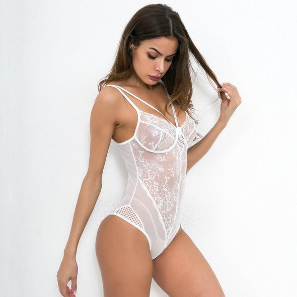 White Lace Sexy Teddy Ligerie