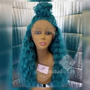 Blue Wigs Lace Frontal Hair 10 Inch Bob Wig Cosplay Wigs Oily Hair