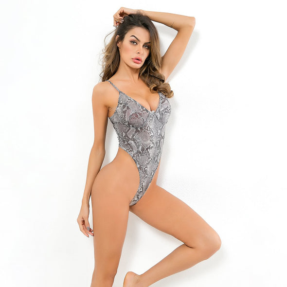 Print Snake Skin High Cut Teddy Lingerie