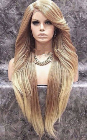 Long  Ombre wig blonde Brown Wigs Lace Front Wig Blonde Wig Long Hair Human Hair Wigs Free Shipping