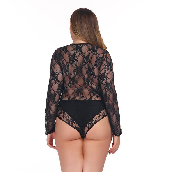 Plus Size Long Sleeve Lace Teddy Lingerie