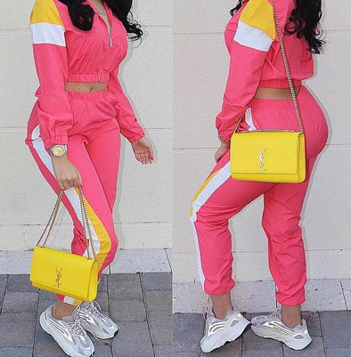 Block Color Long Sleeve Tracksuit
