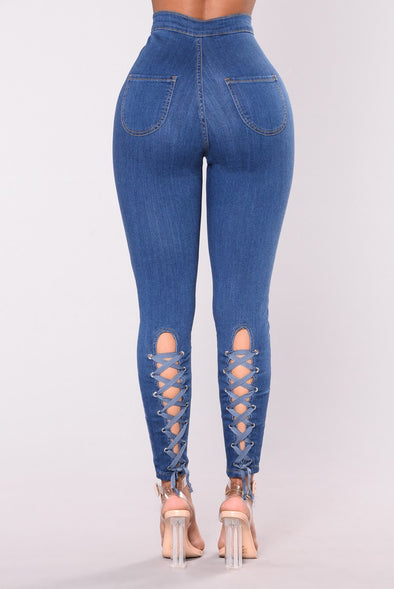 High Waist Lace Up Detailed Stretch Jeans