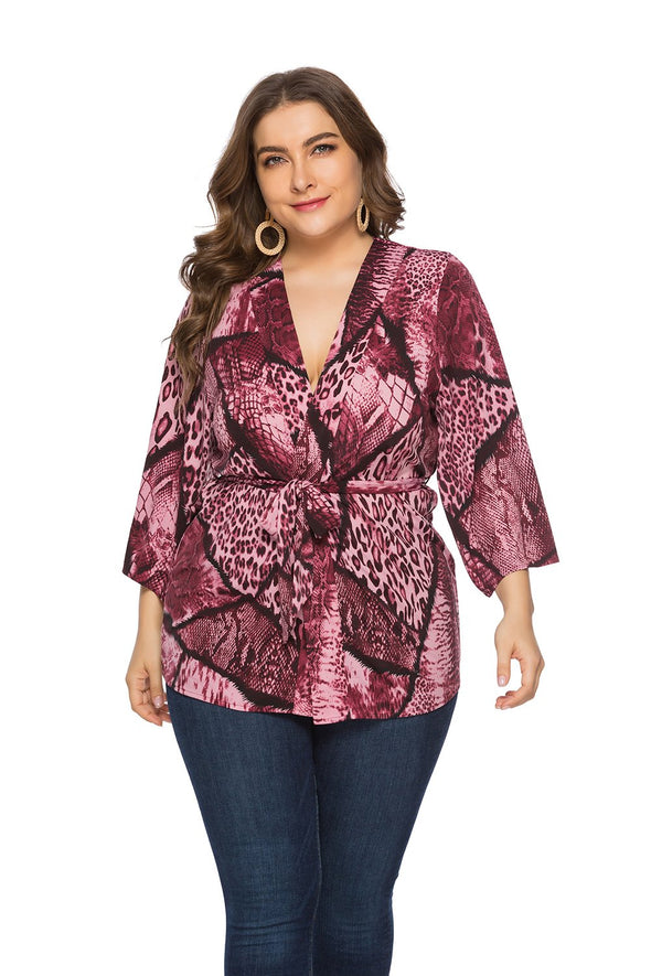 Print Plus Size V-Neck Blouse with Belt