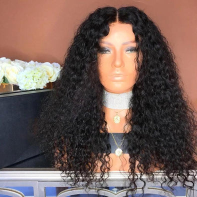 180% DENSITY WATER WAVE HUMAN HAIR LACE FRONT WIG Long Curly Black Wig