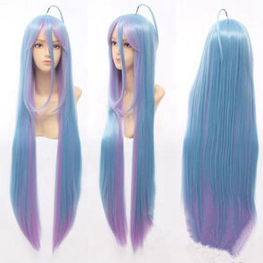 electric blue bob wig white hair with blue highlights