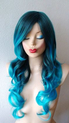 blue ombre hair wig blue to white ombre hair
