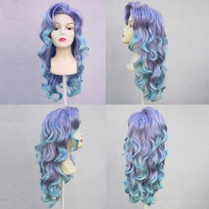 blue human lace wig blue hair with blonde highlights