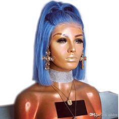 full lace blue wig blue to pink ombre hair