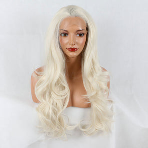34% OFF|Bombshell Platinum Blonde Wig Deep Wave Lace Front Wigs