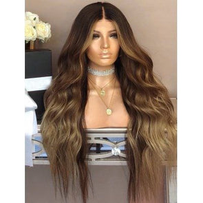 Women Long Curly Hair Full Wig Heat Resistant Brown Hair Wigs 24-Inch