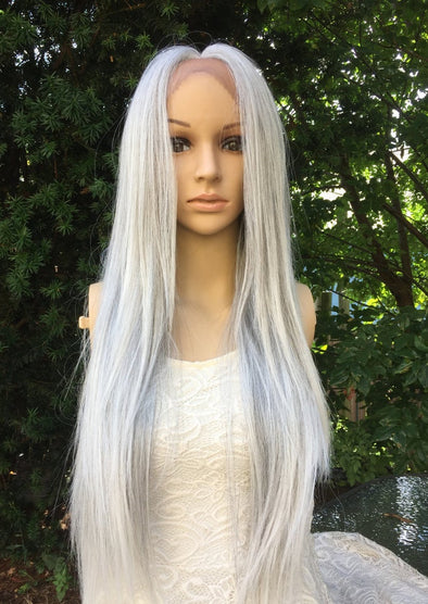 Gray and white lace front wig