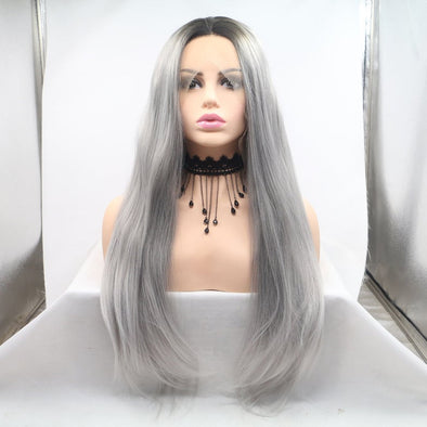 Long Grey Wig With Lace Front