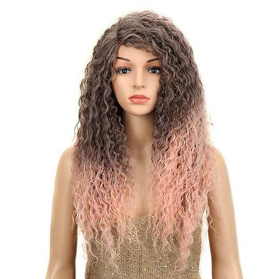 High quality lace front wig natural black pink wave wig hairline