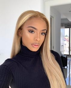 Lace Front Human Hair Wigs Ombre Black Blonde Red Color Straight Middle Part Blunt Lace Wig For Women