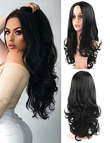 Lace Front Hair Wigs long black wig no bangs
