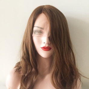 Women Lace Front Chestnut Brown Wavy Curly Waves Side Part Shoulder Length Soft Thin Hair Cosplay Party Wig