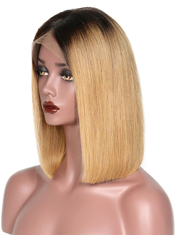 Brown Straight Wig Short Hair Deep Side Part Bob Wig 13X6 Lace Frontal Wig
