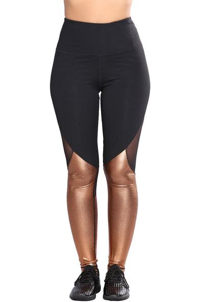 Gold Metallic Bottom Detail Active Stretch Leggings