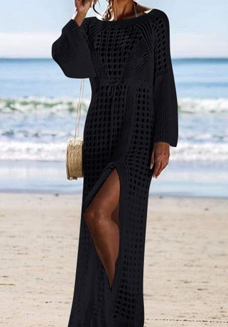 Long Sleeves Crochet Long Swimwear1