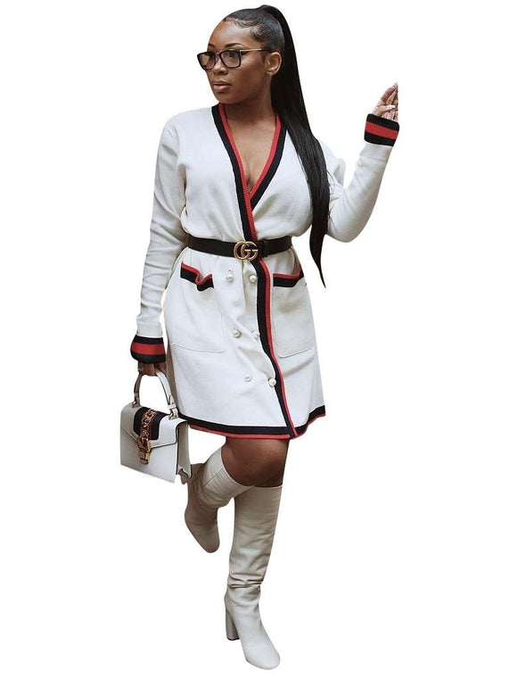 White Long Coat with Conrtast Trim