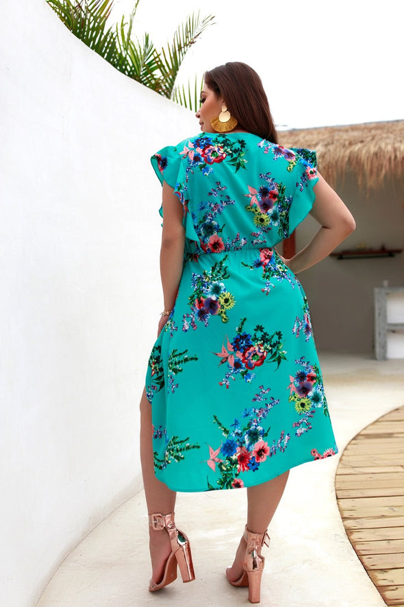 Plus Size Print Long Sleeve Casual Mini Dress