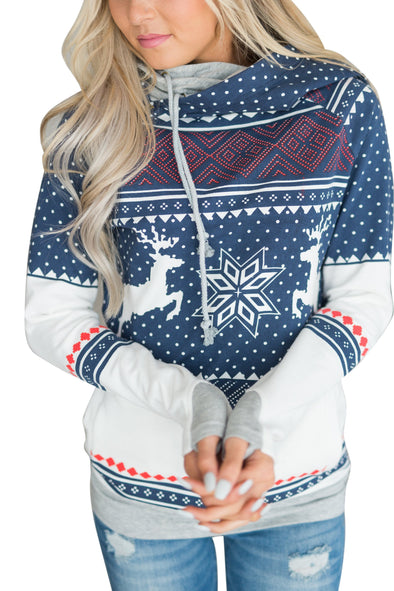 Print Christmas Long Sleeve Hoody