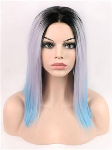 Blue Wigs Lace Frontal Hair 10 Inch Bob Wig Rod Stewart Wig Bob Cut For Girls