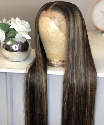 Lace Front Wig Honey Brown Highlights Wigs Free Shipping Wigs For Black Women 24""