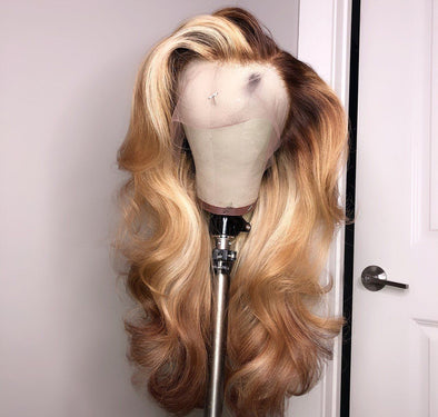 Blonde Wigs Lace Hair Brown Wigs 16 Inch Wig Ash Blonde Ombre Hair Surfer Wig