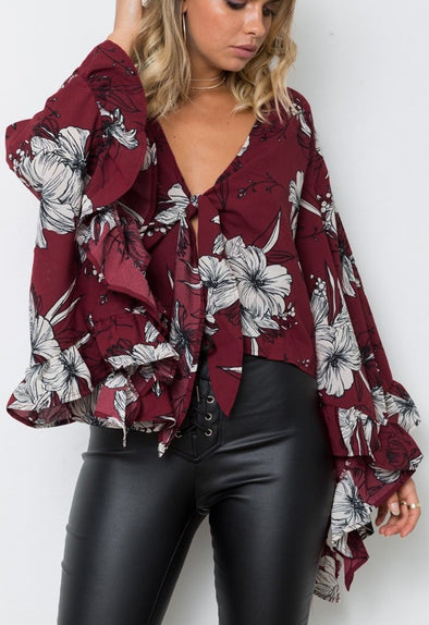 V-Neck Floral Blouse with Wide Sleeves
