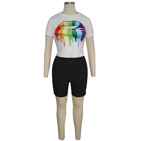 Print White Short Sleeve Shirt and Black Shorts