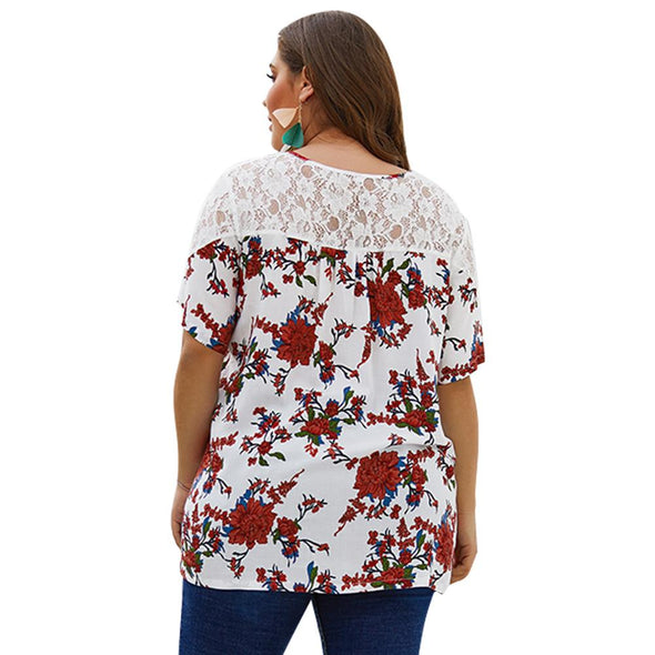Plus Size Lace Upper Floral Shirt