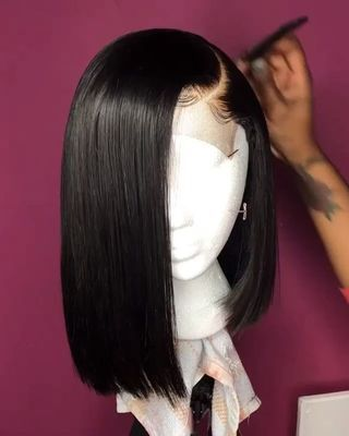 High quality lace front wig Short black wig natural hairline47