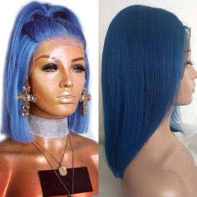 Lace Frantal Bob Wigs Blue Straight Wig For African American Women The Same As The Hairstyle In The Picture