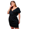 Plus Size Plain Color Short Sleeve Casual Dress