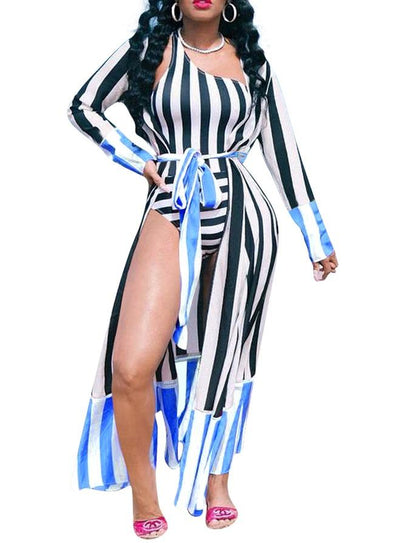 One-Shoulder Stripped Swimsuit with Cover Ups